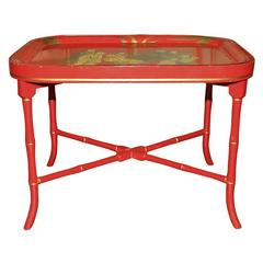 Red Tole Chinoiserie Tray Table. English, Circa 1825