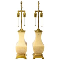 Pair of Onyx and Brass Table Lamps