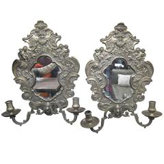 1890s Pair of Ornate Distressed Mirror Bronze Two-Arm Candle Sconces with Putti