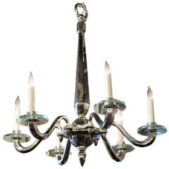 1960s French Art Deco Style Six-Arm Nickel over Bronze Chandelier
