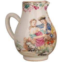 Chinese Porcelain Cream Jug with Two European Amorous Couples, 18th Century