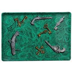 Piero Fornasetti Vintage Smart Green Malachite Tray
