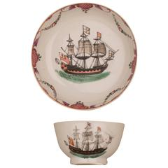Chinese Porcelain Cup and Saucer, Ship English Flags, 18th Century