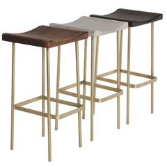Bundinha Stool with Brass Base by Thomas Hayes Studio