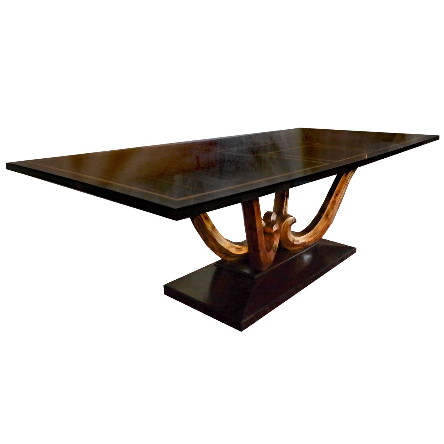 large ebony wood dining table on pedestal base for sale at 1stdibs. Black Bedroom Furniture Sets. Home Design Ideas