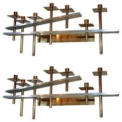 Pair of Architectural Wall-Mounted Candelabra