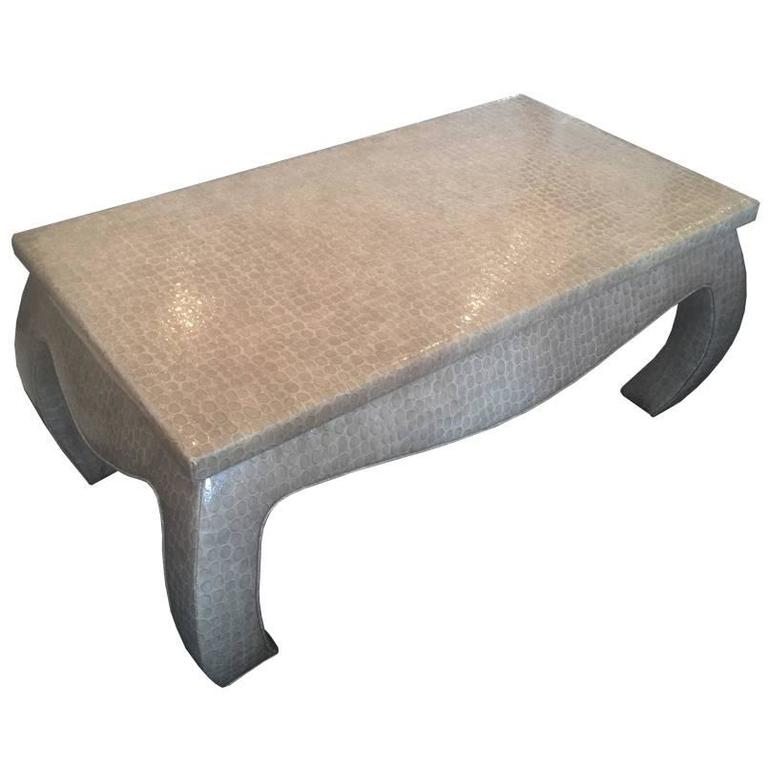 Faux Snake Skin Wrapped Ming Coffee Table For Sale At 1stdibs