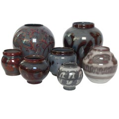 Seven Art Deco Luster Glazed Ceramic Vases by Edgar Bockman for Hoganas
