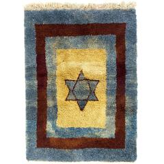 One of Kind Star Tulu Rug in Blue, Brown and Yellow