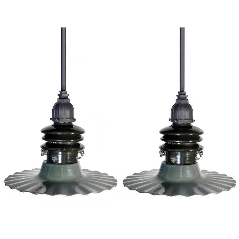 matching pair of radial wave street lamps for sale at 1stdibs. Black Bedroom Furniture Sets. Home Design Ideas
