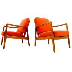 Pair of Ole Wanscher Teak Easy Chairs FD 109, Denmark 1956