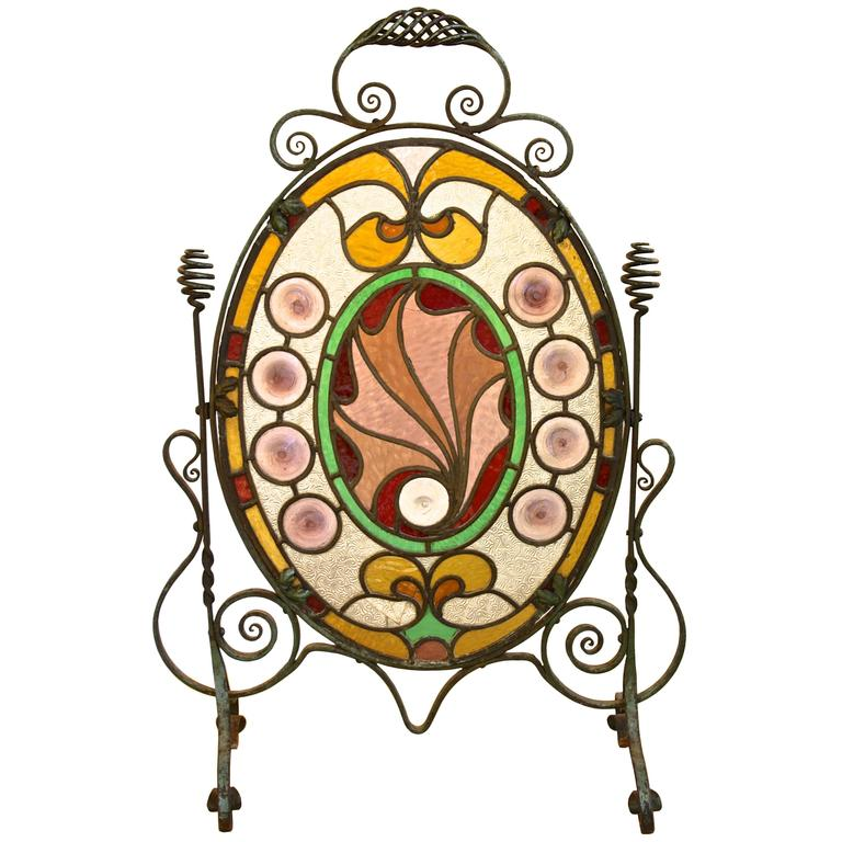 Arts and crafts stained glass firescreen for sale at 1stdibs for Arts and crafts glass