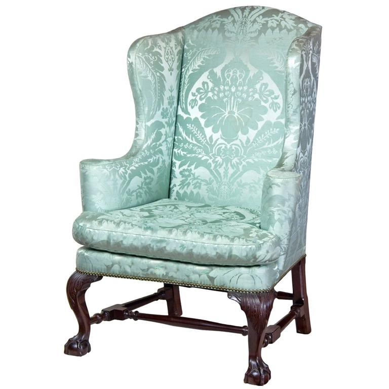 Upholstered Wing Chair With Carved Knees And Claw And Ball Feet, Boston For  Sale