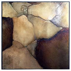 1970s Large Square Lacquered Mixed-Media Painting in Cracked Earth Tones