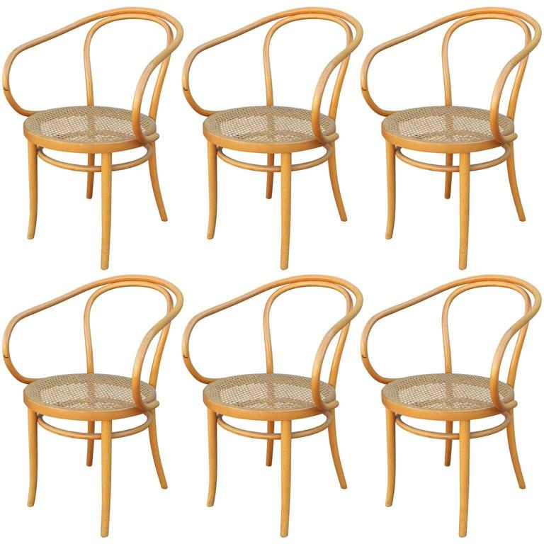 Set Of Six Thonet 209 Bentwood And Cane Dining Chairs For