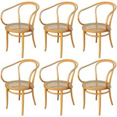 Set of Six Thonet 209 Bentwood and Cane Dining Chairs