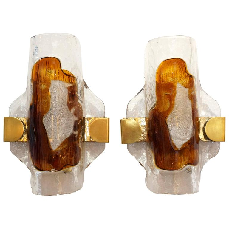 Contemporary Wall Sconces Glass : Pair of Mid-Century Modern Murano Glass Wall Sconces, Mazzega, Italy, 1960s For Sale at 1stdibs