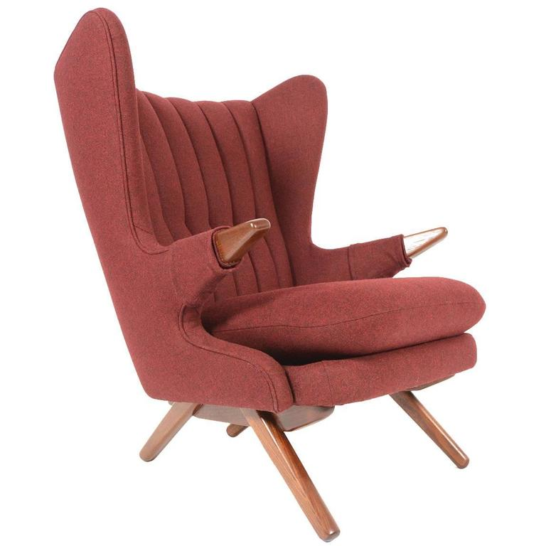 Svend Skipper Model 91 Papa Bear Chair In Burgundy For Sale