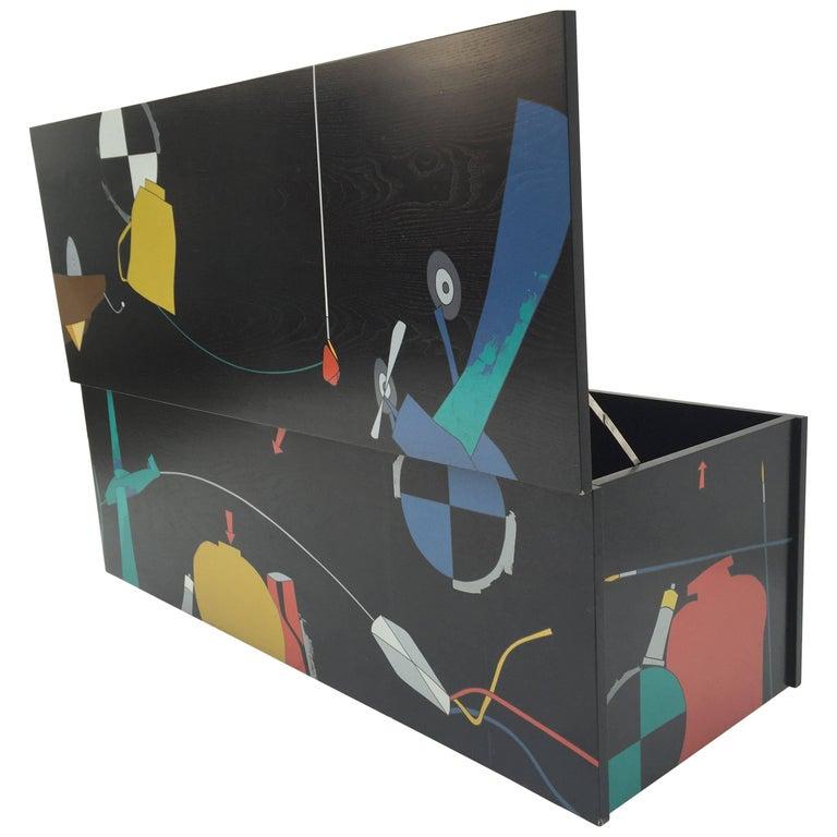 Amazing Serigraphed Cabinet by Artist Emilio Tadini, Published Casa Vogue For Sale