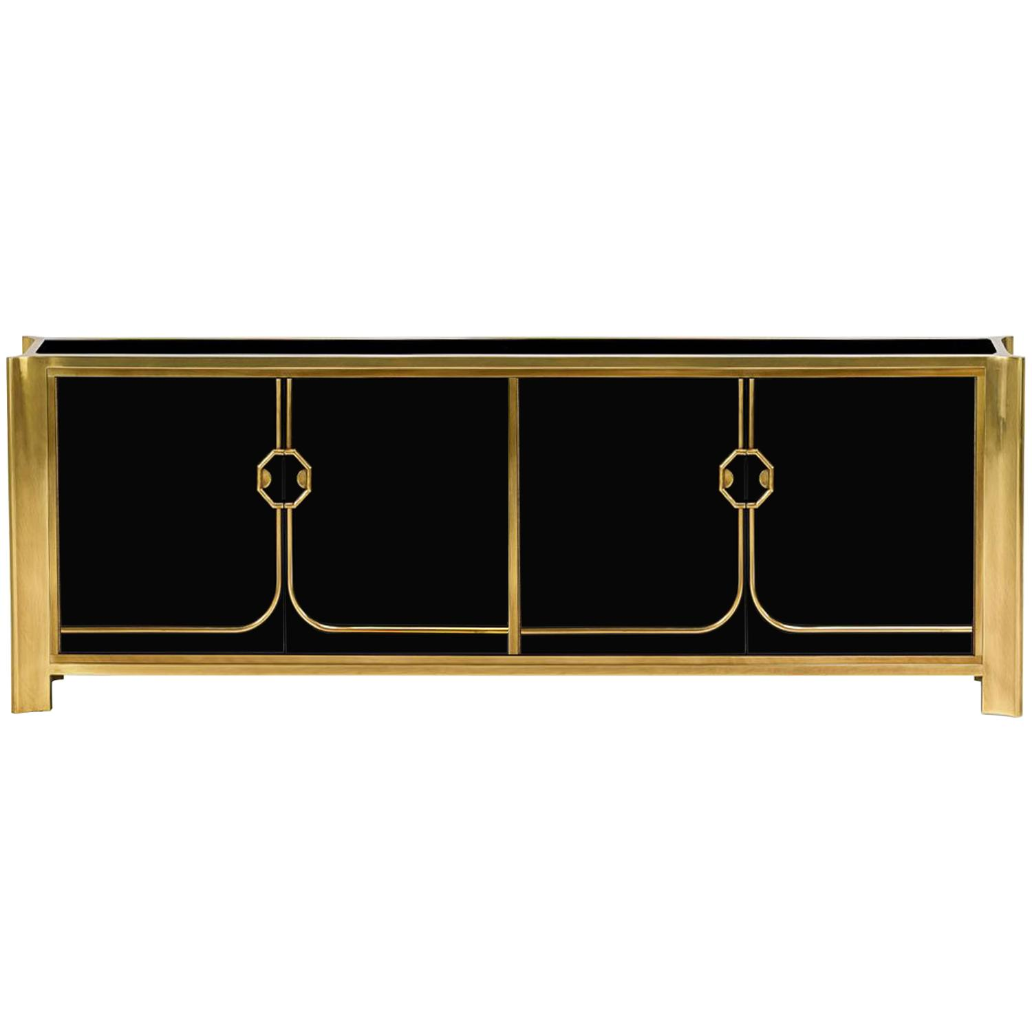 Black Lacquered Credenza by Roche Bobois For Sale at 1stdibs