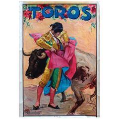 Original Vintage 1920s Toros Advertising Poster, Bull and Toreador Bullfighter