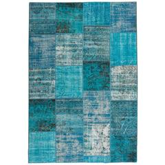 Distressed Overdyed Patchwork Rug