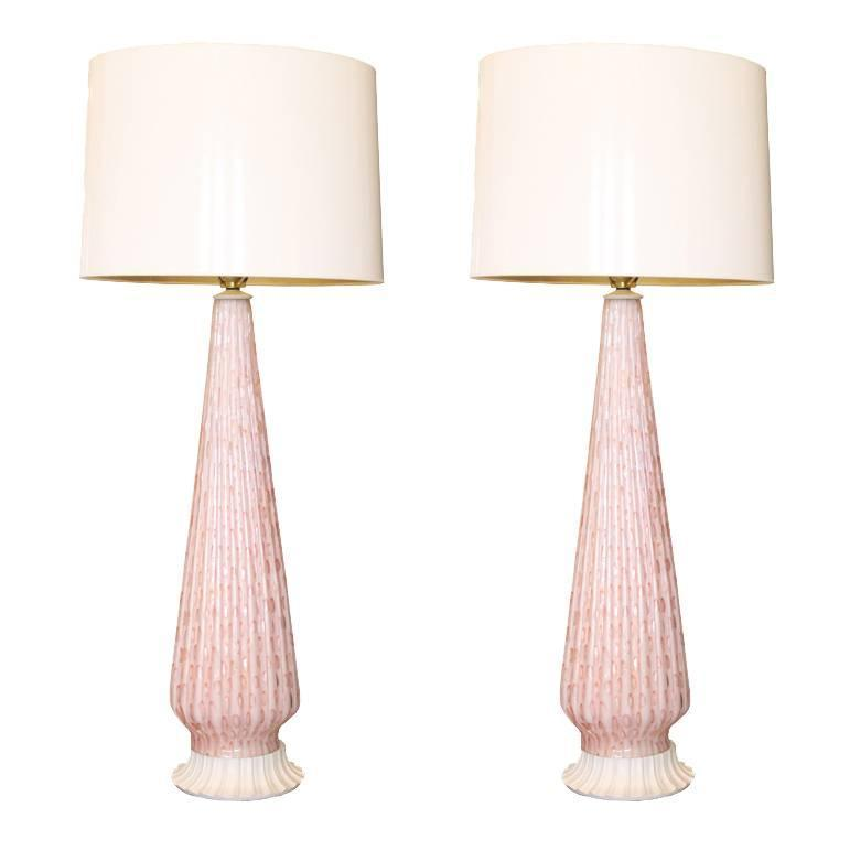 pair tall pink and white murano glass lamps at 1stdibs. Black Bedroom Furniture Sets. Home Design Ideas