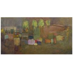 """Mid-century """"American Abstract"""" Oil on Canvas Painting"""