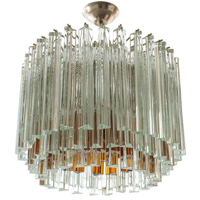 Venini Glass Chandelier, Triedri Crystal Glass, Italy, 1960s For Sale