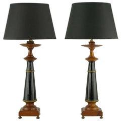 Pair Rembrandt Wood, Black Lacquer & Gilt Regency Table Lamps