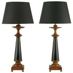 Pair Rembrandt Wood, Black Lacquer & Gilt Regency Table Lamps