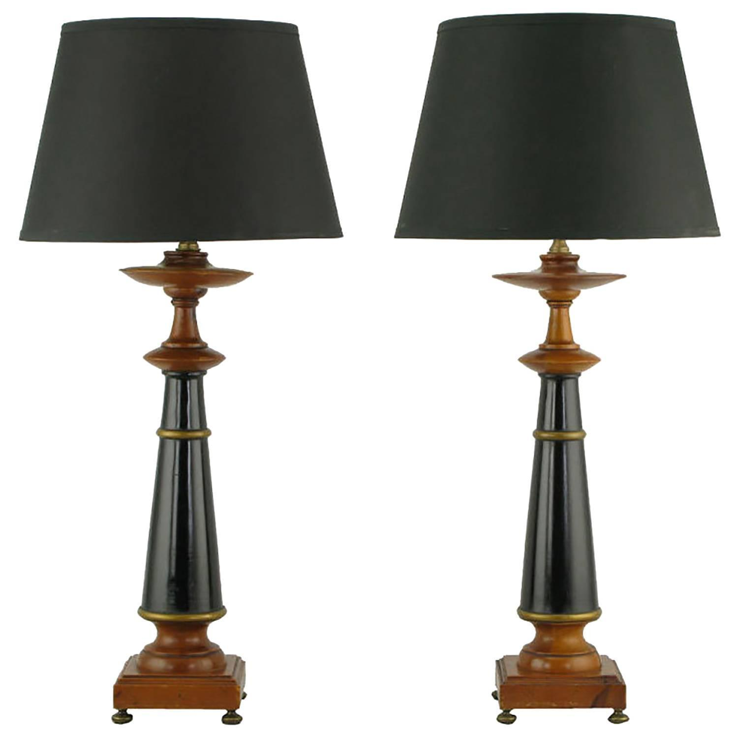 pair rembrandt wood black lacquer and gilt regency table lamps for sale at 1. Black Bedroom Furniture Sets. Home Design Ideas
