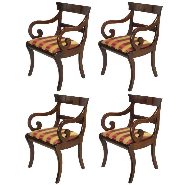 four mahogany regency scrolled arm dining chairs for sale at 1stdibs