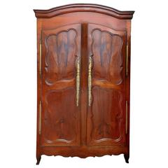 Tall French 18th Century Louise xv Cherrywood Armoire Cupboard, circa 1750