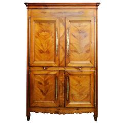 French, Louis XV, Mid-18th Century Four-Door Cherrywood Armoire Cupboard