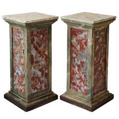 Pair of Italian Faux Painted Marble Corner Pedestals, circa 1780