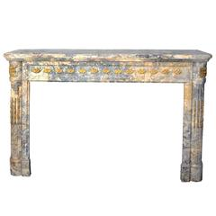 French Louis XVI Neoclassical Marble Fireplace, circa 1780