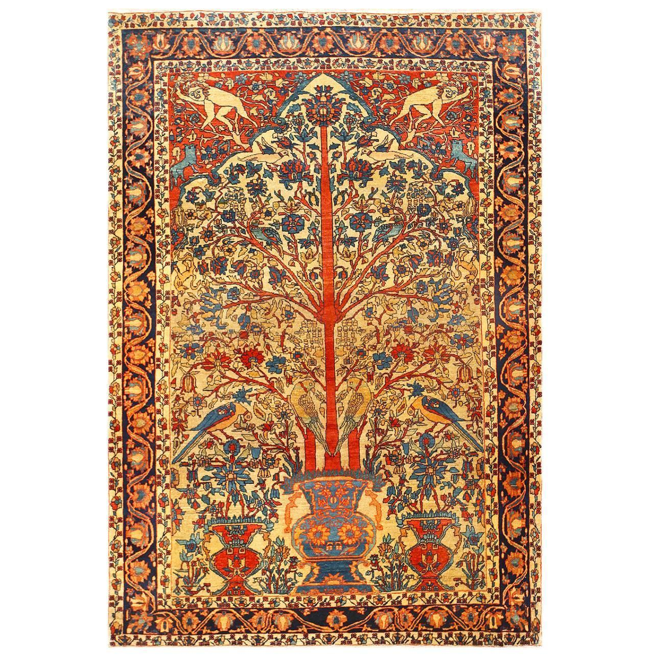 Antique Persian Fine Sarouk Farahan Tree Of Life Rug At