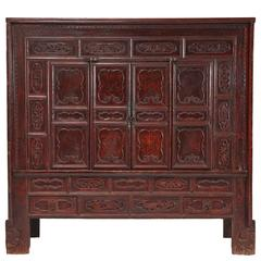 18th Century Chinese Lacquer Carved Paneled or Coffered Cabinet, Chinoiserie