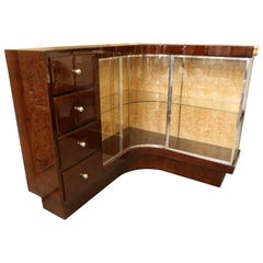 Art Deco French Demilune Corner Cabinet