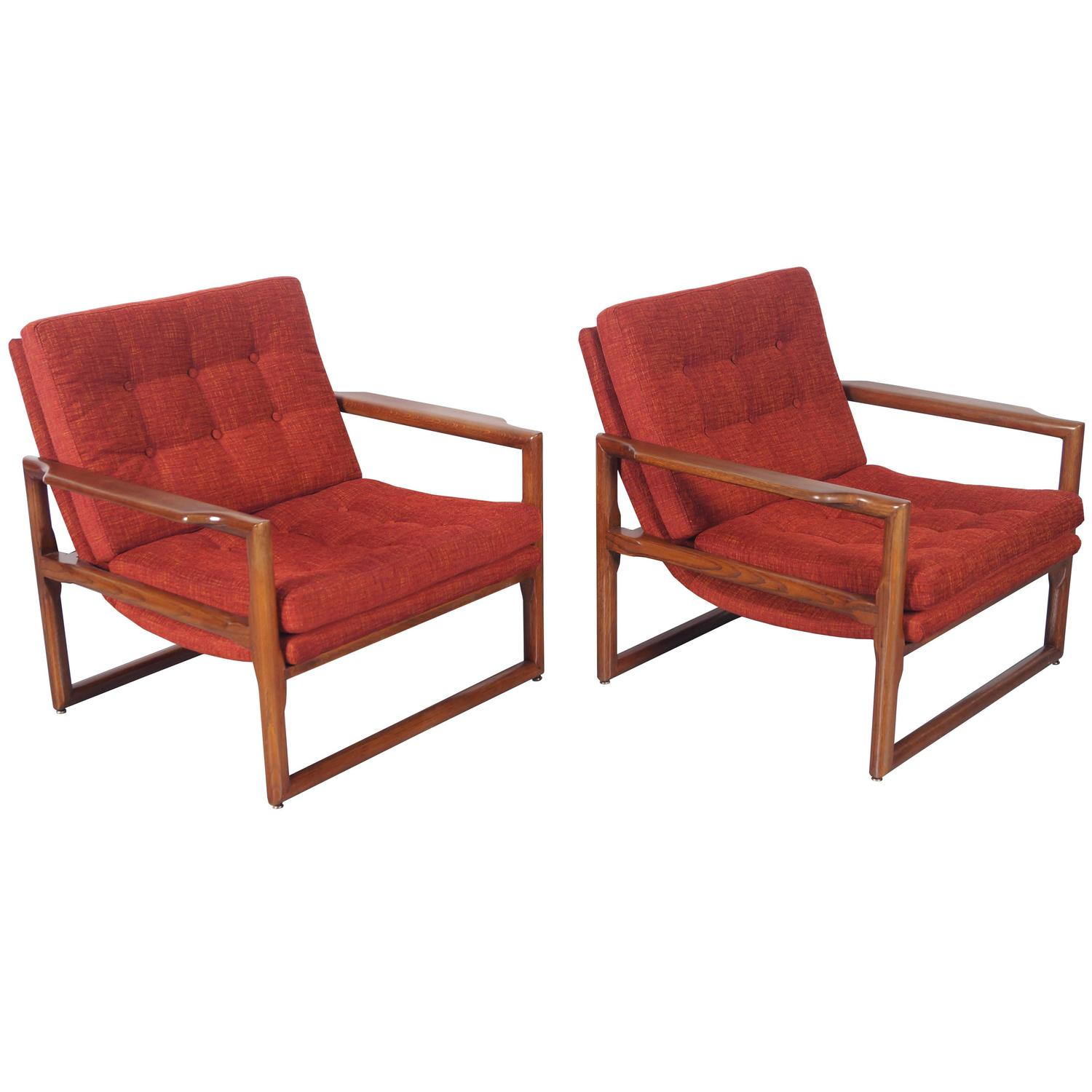 "Vintage ""Cube"" Lounge Chairs by Milo Baughman at 1stdibs"