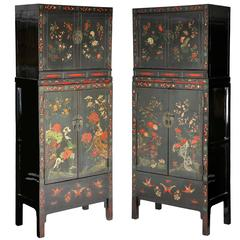 Antique 18thC Pair Chinese Lacquer Painted 2-Part Compound Cabinets, Chinoiserie
