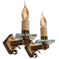 Pair of Fontana Arte Style Single Light Sconces