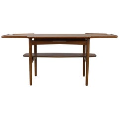Danish Design Nicely Edged Coffee Table in Oak with Brass Inlay