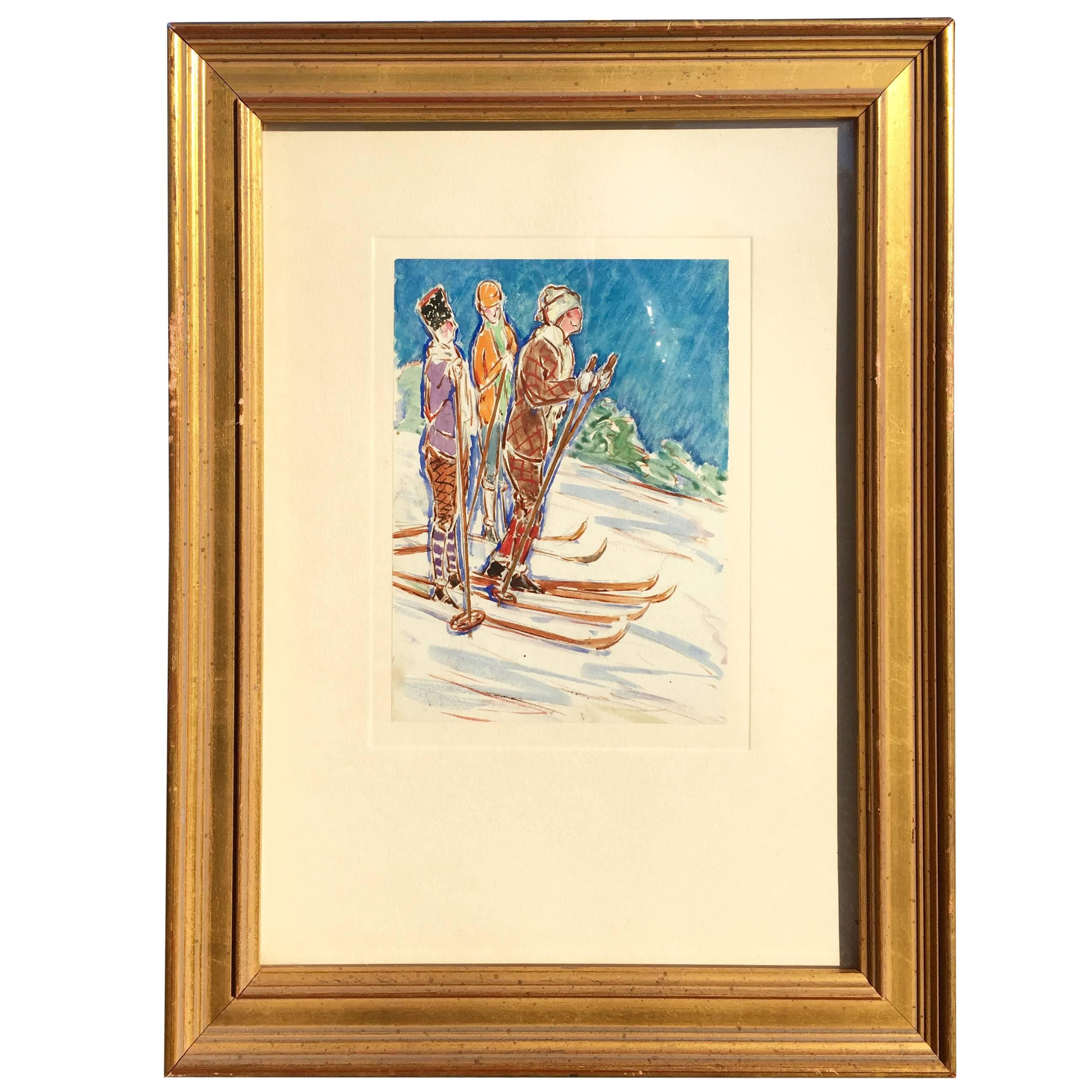 Gouache of Skiers Early 20th Century by Rufus Dryer