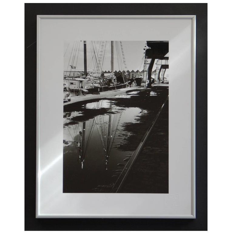 Black and White 1960s Photography, Boat Reflections 1