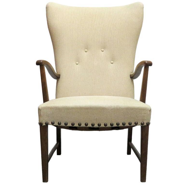 danish modern wingback lounge chair for sale at 1stdibs. Black Bedroom Furniture Sets. Home Design Ideas