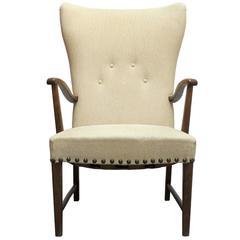 Danish Modern Wingback Lounge Chair