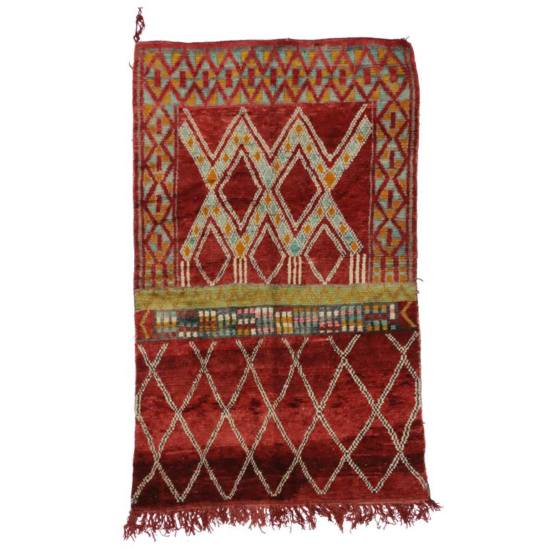 Mid Century Modern Style Red Berber Moroccan Rug With: Mid-Century Modern Berber Moroccan Rug With Modern Tribal