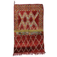 Mid-Century Modern Berber Moroccan Rug with Crimson Red Abrash